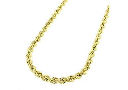 Orostar 10K Yellow Gold 4mm Diamond Cut Handmade Rope Chain Necklace, 16