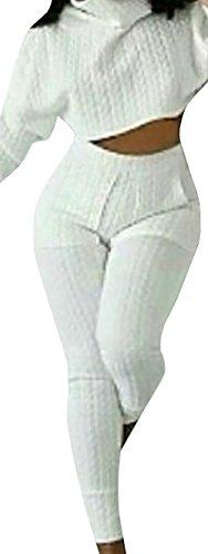 Jiujiuyi Women's Turtleneck Crop Top and Pants Set 2 (Crop Set)