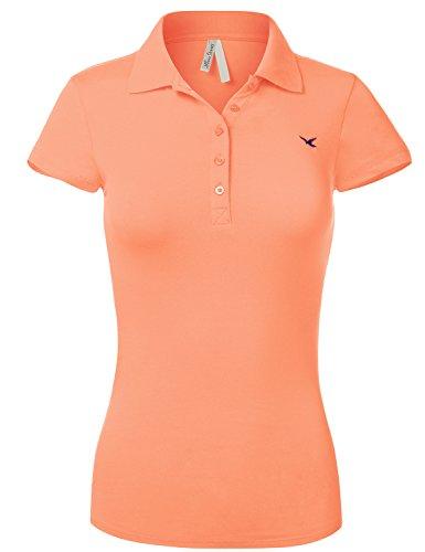 Slim Fit Long Waist Short Sleeve Plain Polo Tee Shirts, US L, 102-Blush