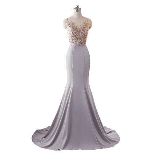 Pailletten Abendkleid Formale Meerjungfrau Frauen Lange Love Spitze King's Brautkleid Grau Stickerei qwn6xS8IC