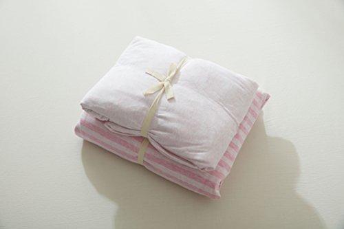 HC 4pcs 100% Cotton Super Soft Jersey Knitted Fabric Bed Set Girls Light Pink Striped Duvet Cover Bedding Sheets (Queen) ()