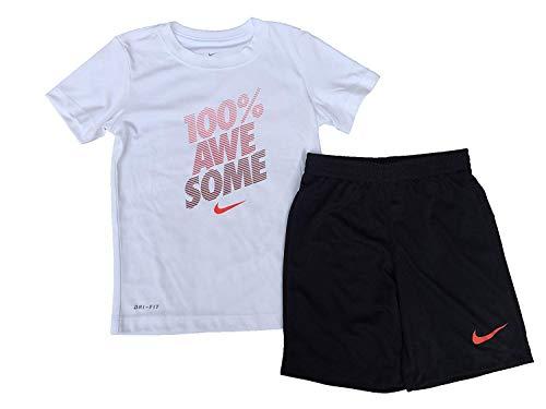 NIKE Toddler Boys 2pc Athletic Shirt and Shorts Set (Black, 6)