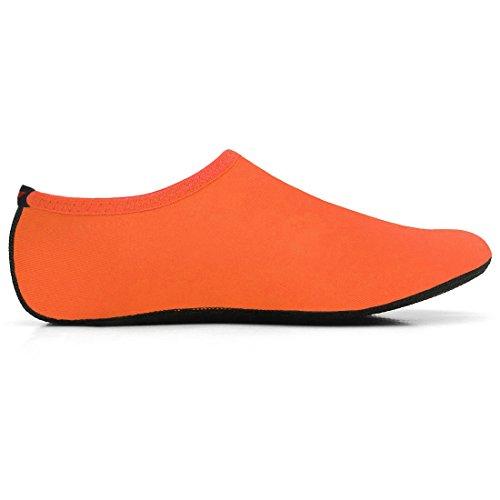 JustOneStyle NBERA Barfuß Flexible Wasserhaut Schuhe Aqua Socken für Beach Swim Surf Yoga Übung Pop_orange