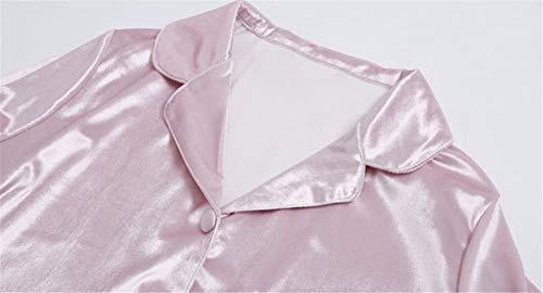 Mmllse Terciopelo Pink Para A Servicio Pantalones Dorado Moda Manga Domicilio Traje Pijamas De Larga Mujeres 1qaxCr1w