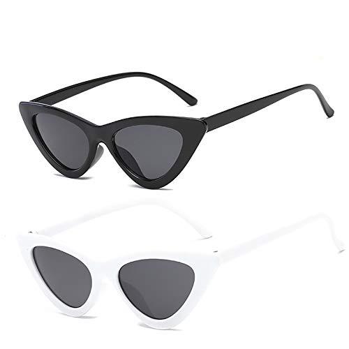 YOSHYA Retro Vintage Narrow Cat Eye Sunglasses for Women Clout Goggles Plastic Frame (Black Grey + White ()