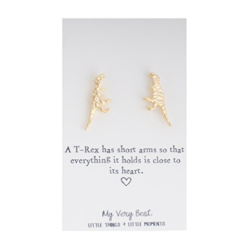 My Very Best Tiny Cute Dinosaur T- Rex Stud Earrings (gold plated brass)]()