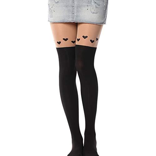 Kawaii Tights Cat Stockings Pantyhose Cartoon Bunny Socks Women Girls Cute Animal Mock Knee Nude High Thigh Tattoo Patterned Hosiery Leggings 1 Pack Love (Womens Tattoo Tights)