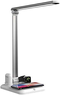 Lámpara Escritorio LED, Lámpara de Mesa con cargador inalámbrico ...