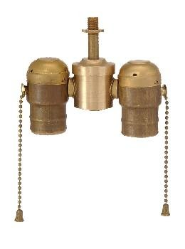- B&P Lamp 2-Lite Cluster W/Pull-Chain Sockets, Unfinished Brass