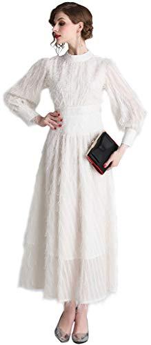 Ababalaya Women's Elegant High Neck Lantern Sleeve Feathers Tassel Maxi Flared Evening Dress,3553White,Tag L = US Size 4-6 Eagle White Long Sleeve