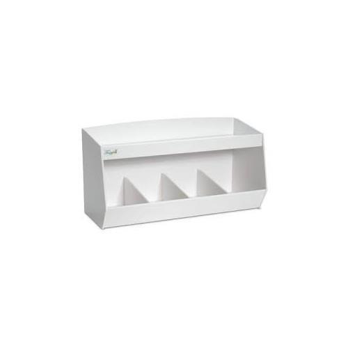 TrippNT 50065 White PVC Plastic Lab Storage Bin with 4 Fixed Compartments, 24'' Width x 11'' Height x 9.2'' Depth, 1 Shelf