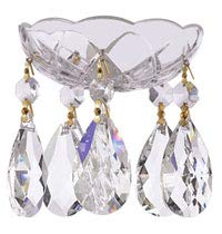 Set of 10-4-Inches, 5 Side Holes - Asfour Crystal 30% Lead Crystal Chandelier Bobeche Clear with Gold Pin and Teardrop