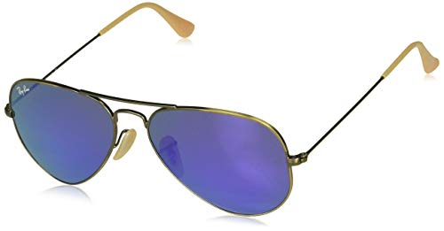 Ray Ban RB3025 AVIATOR LARGE METAL 167/1M 55M Brushed Bronze Demi/Gray Purple Mirror Sunglasses For Men For Women