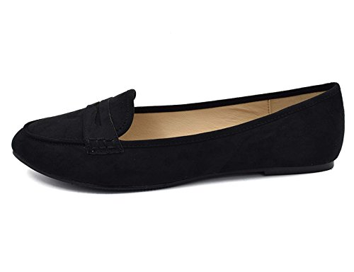Women's Shoes Casual Comfort School Flat Black Loafer Pointed Ballet Toe Greatonu FPdIzqF