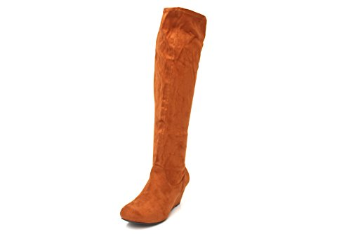 F10383Ts - Bottes à semelle compensée hauteur genou - hiver - femme - Brun clair