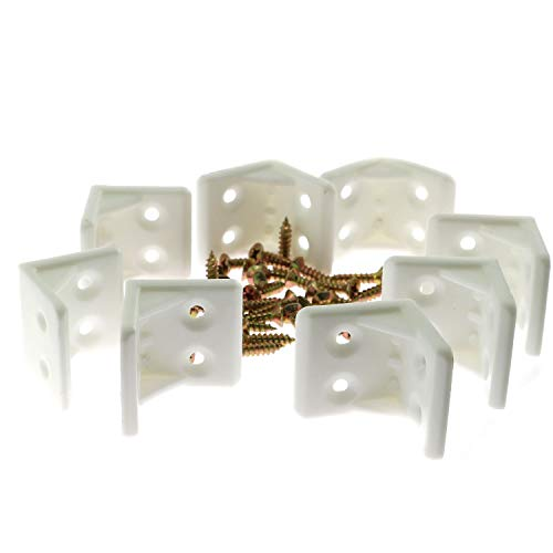 8pcs 4-Hole L Shape Plastic Corner Bracket Right Angle Furniture Corner Brace Joint with Countersunk Mounting Screws Hardware Fitting Accessories for Shelf Support 2.8x2.8cm White