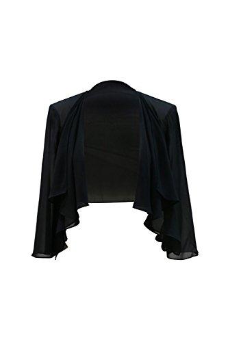 Chic Queen Women's Sheer Chiffon Bolero Shrug Jacket Cardigan Long Sleeve(L/Black)