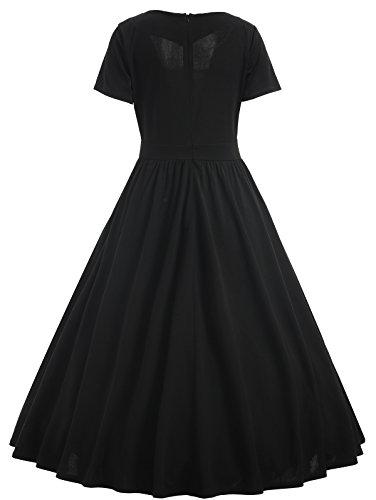 Donne Vestiti Vintage anni '50 Abito da Sera a Maniche Corte Elegante Vestito con Risvolto Lunga Estate Gonna A-Line Decorazione in Pizzo Abiti da Cerimonia