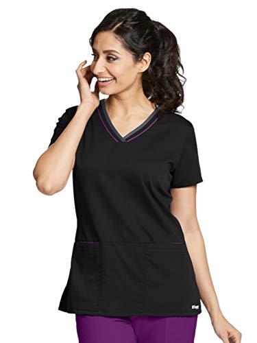 (Grey's Anatomy Active 41466 Color Block V-Neck Top Black/Very Berry/Granite M)