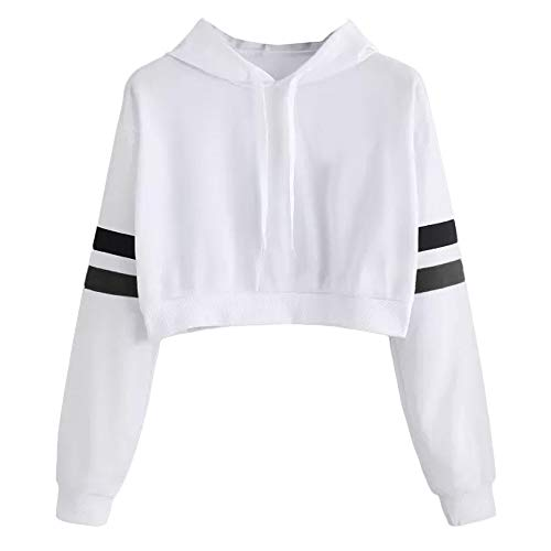 HHei_K Plain Color Drawstring Hoodie Striped Long Sleeve Loose Cropped Hooded Sweatshirt