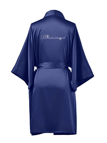 AW Satin Bridesmaid Robes Plus Size Short Bridal Robes for Bridesmaid Gifts Soft Womens Kimono Robe Navy XL //ZS1604CPP03A// ()