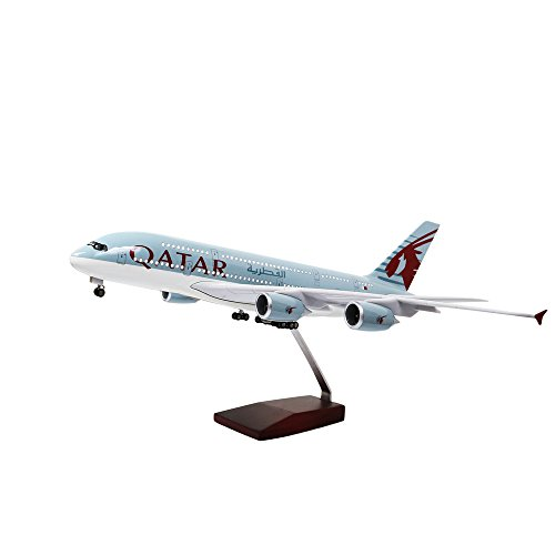 HANGHANG 18 Inch Qatar Airbus 380 Voice-activated LED Landing Gear Resin Diecast Aircraft Model 1:160