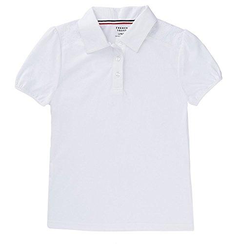 - French Toast Girls' Big Short Sleeve Lace Yoke Polo, White, XL (14/16)