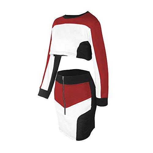 Col Usure Shirt U Blouse Weant Sport Longues Longues Blouse Grande 2pcs Rouge dcontract survtement Costume Tops Manches Ensembles Femmes Femme Sweat Chemisier Manches Jupe Casual Taille RrpXq