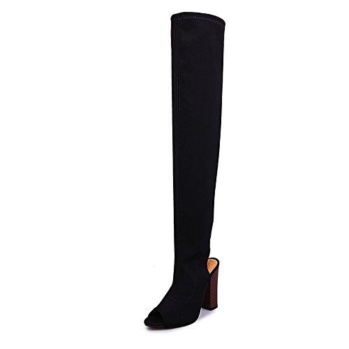 la las grueso botas 43 mujeres largas two de elástica Donyyyy Botas pescado de Forty tacón y botas boca de rodilla tela negro wxaB8qtY