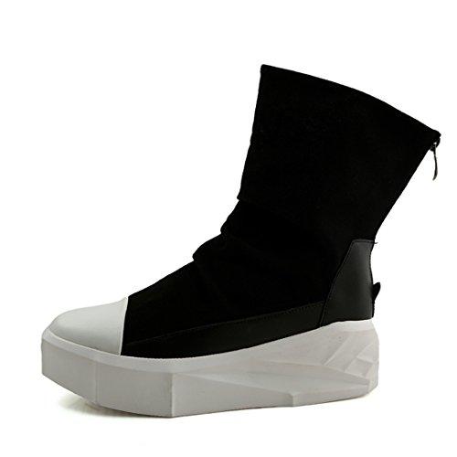 Xiafen Heren Hoog Uitgesneden Enkellaarsjes Met Lage Hak Casual Mode Laarzen Comfortabel Zwart / Wit