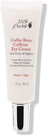 100% PURE Coffee Bean Caffeine Eye Cream for Wrinkles, Anti-Aging, Dark Circles Under Eye Treatment for Eyelids and Under Eye Area - 1 Fl Oz