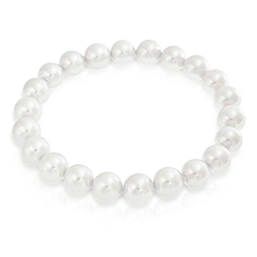 Bling Jewelry Fashion Simple Ball Round Stackable Single Strand Stretch White Simulated Pearl Bracelet for Women for Teen ()