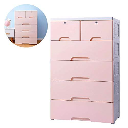 Nafenai 5 Drawer Kids Storage Cabinet,Home Storage Drawers with Lock & Wheel, Plastic Bedroom Storage Bin Baby Closet Toy Box Clothes Storage Cabinet
