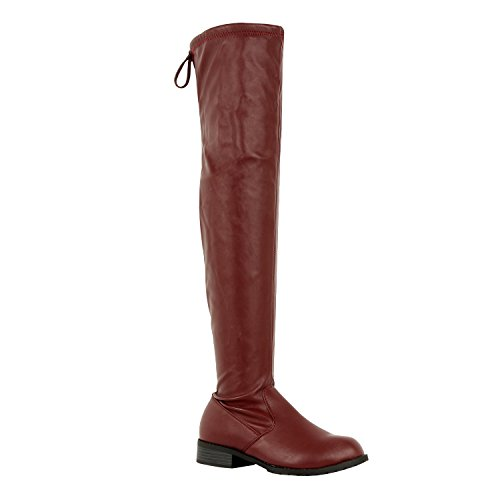 Guilty Schuhe Damen Komfortable Pull Up Low Block Ferse Geschlossene Zehe Stiefel - Overknee Oberschenkel Hohe Stiefel Burgunder Pu