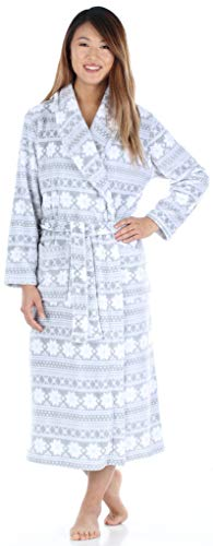 - PajamaMania Women's Sleepwear Fleece Long Robe Grey & White Snowflake (PM1400-2011-XL)