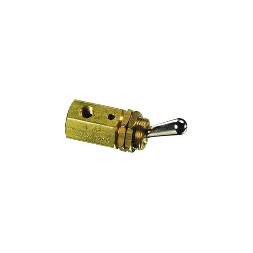 Clippard TV-3S 3-Way Toggle Valve, N-C, Enp Steel Toggle, 10-32F, 4.5 SCFM at 50 PSIG, 8 SCFM at 100 PSIG by clippard