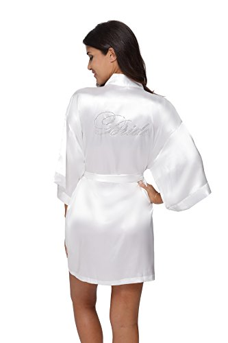 Kimono Outlet Wedding Short Kimono Robe for Bride, With Rhinestones White S