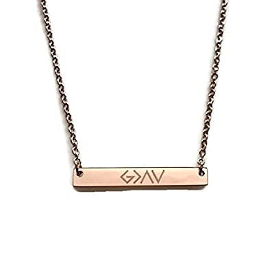 God Is Greater Than The Highs And Lows Rose Gold Plated 18 inch Bar Necklace