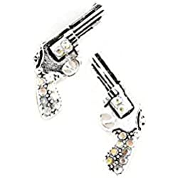 Bejeweled Silver Revolver Post Earrings with Aurora Borealis Crystals