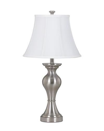 Ashley L204124 Rishona Brushed Silver finish Metal Table Lamp (Pack of 2)