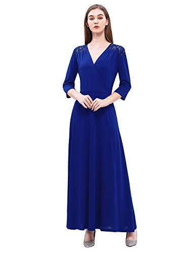 1960s Maxi Dress - YOYAKER Women's Long V Neck Formal Evening Maxi Dress 3/4 Sleeve Floral Lace Cocktail Party Gown Royal Blue M