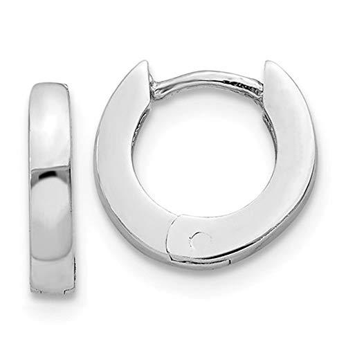 Tiny 14K White Gold Hinged Huggie Hoop Earrings, 0.4 In (9mm) (2mm Wide) -