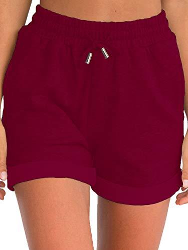 Govc Women's Juniors Shorts Casual Summer Elastic Waist Beach Shorts with Drawstring(Burgundy,S) by Govc (Image #2)
