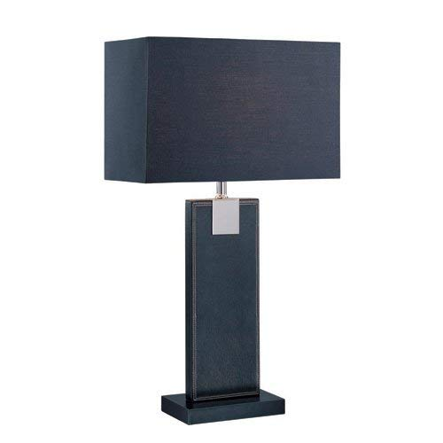 Lite Source LS-21282BLK/BLK Remigio 24-1/2-Inch 60-watt Leather Table Lamp with Fabric Shade, Black