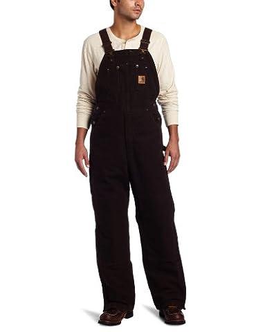 Carhartt Men's Quilt Lined Sandstone Bib Overalls,Dark Brown,34 x 30