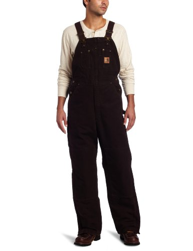 Carhartt Men's Quilt Lined Sandstone Bib Overalls,Dark Brown,34 x 32