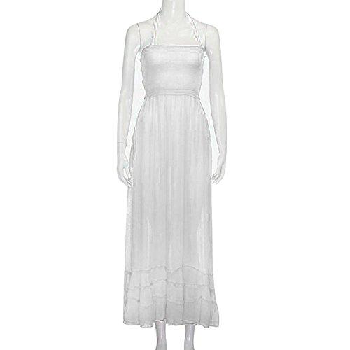 Fanyunhan Womens Ladies Summer Halter Neck Long Dress Bohemian Strappy Backless Maxi Dress Beach Evening Party Sling Sundress White by Fanyunhan Dress (Image #1)