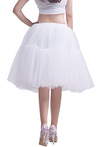 Facent Mujeres 5 Levels Petticoats Falda De Tul De Tutú Hasta La Rodilla 62cm Negro