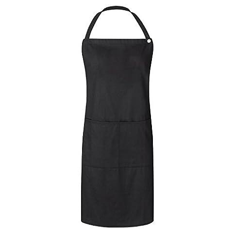 "WorkDay Professional Bib Apron - 100% Cotton - Women & Men - Machine Washable Chef, Kitchen & Salon Apron with 2 Pockets, Adjustable Waist Tie & Snap Closure- 28"" x 32"", Universal Fit - Denim Pinstripe Cap"