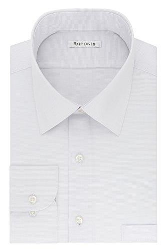 Mens Houndstooth Dress - Van Heusen Men's Regular Fit Micro Houndstooth Spread Collar Dress Shirt, Morning rain 16.5